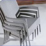 Beige Mesh Stackable Patio Chairs