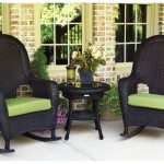 Black Outdoor Wicker Rocking Chairs