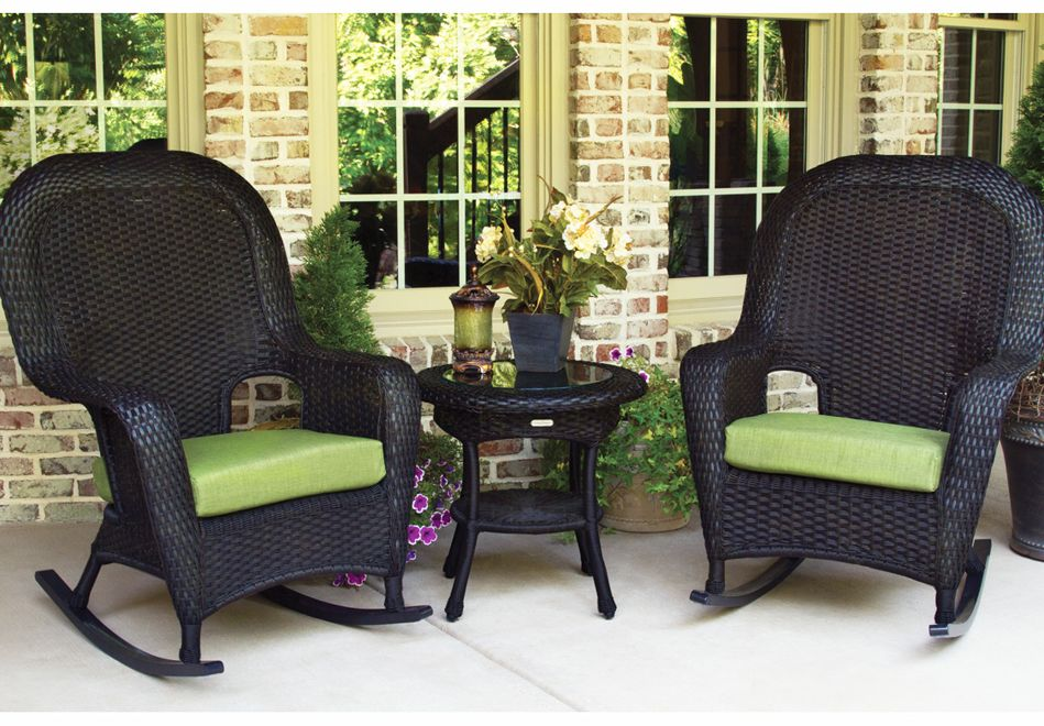 Image of: Black Outdoor Wicker Rocking Chairs