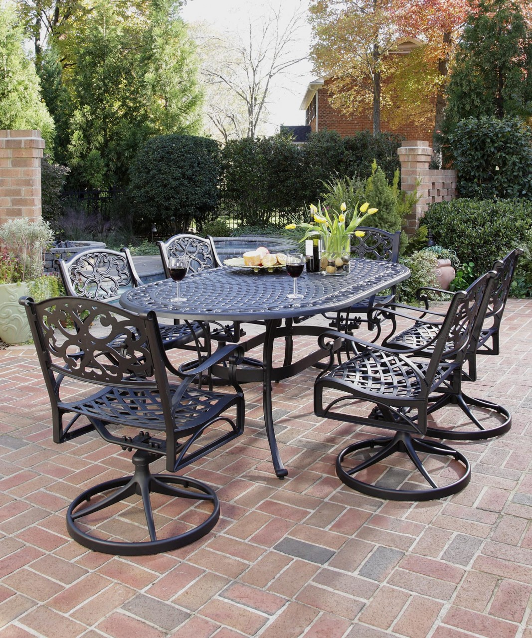 Image of: Dining Table Wrought Iron Patio Furniture