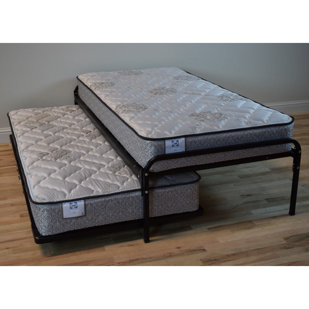 Duralink Metal Twin Pop Up Trundle Bed in Black by Humble Abode
