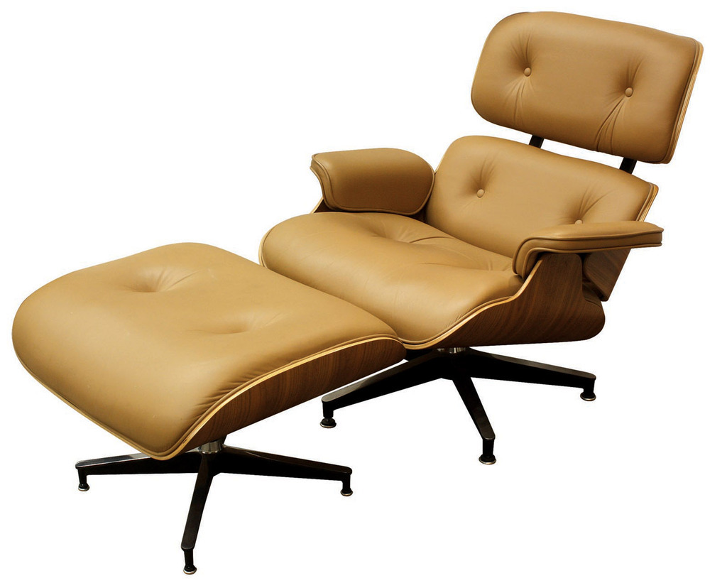Image of: Eames Lounge Chair and Ottoman Cream