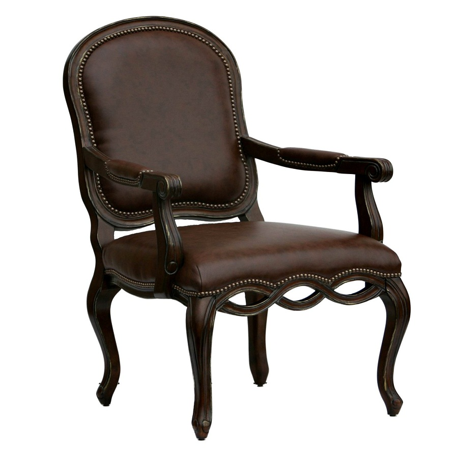 Image of: Rustic Leather Accent Chairs with Arms