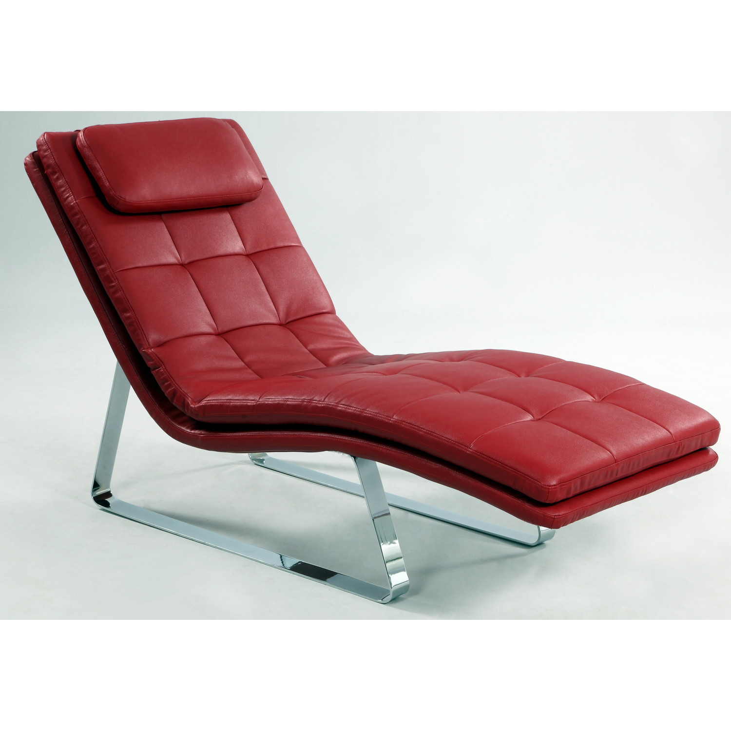 Image of: Leather Chaise Lounge Chair Red