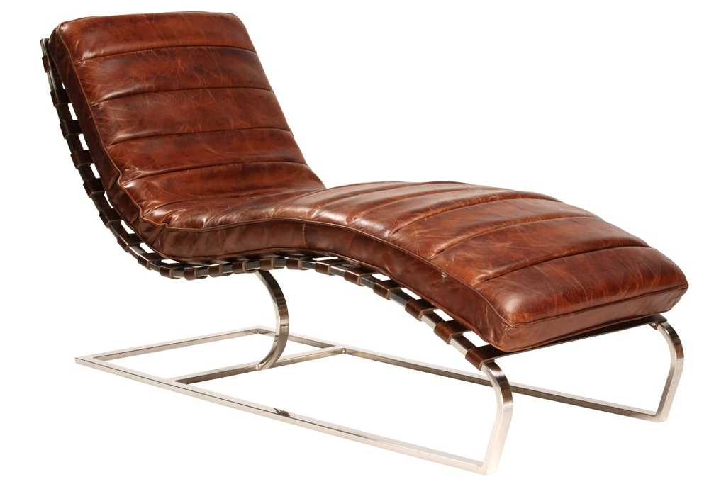 Image of: Leather Chaise Lounge Chair