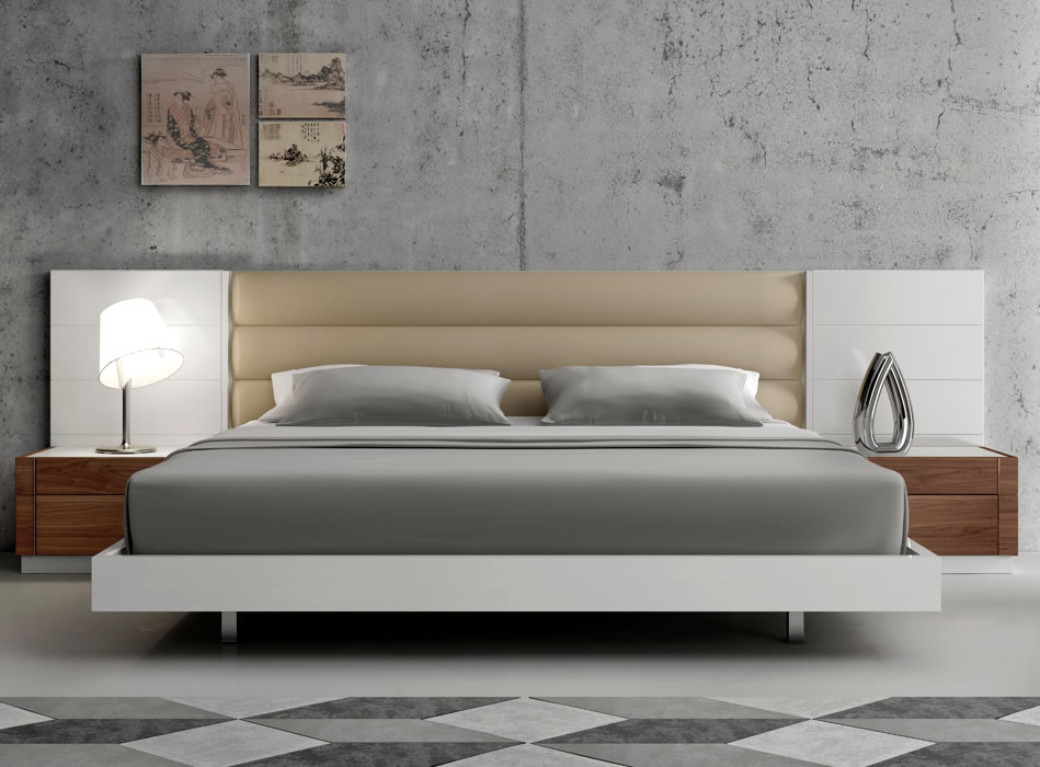 Image of: Lisbon Modern Platform Bed with Upholstered Headboard