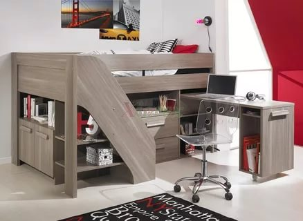 Image of: Loft Bed With Stairs Plans