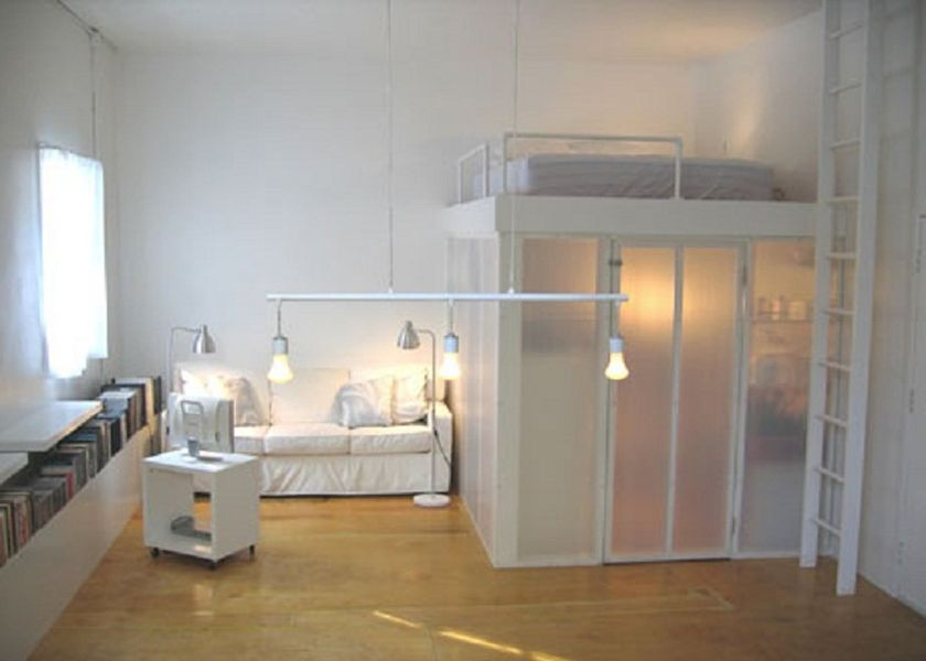 Image of: Loft Bed With Stairs White