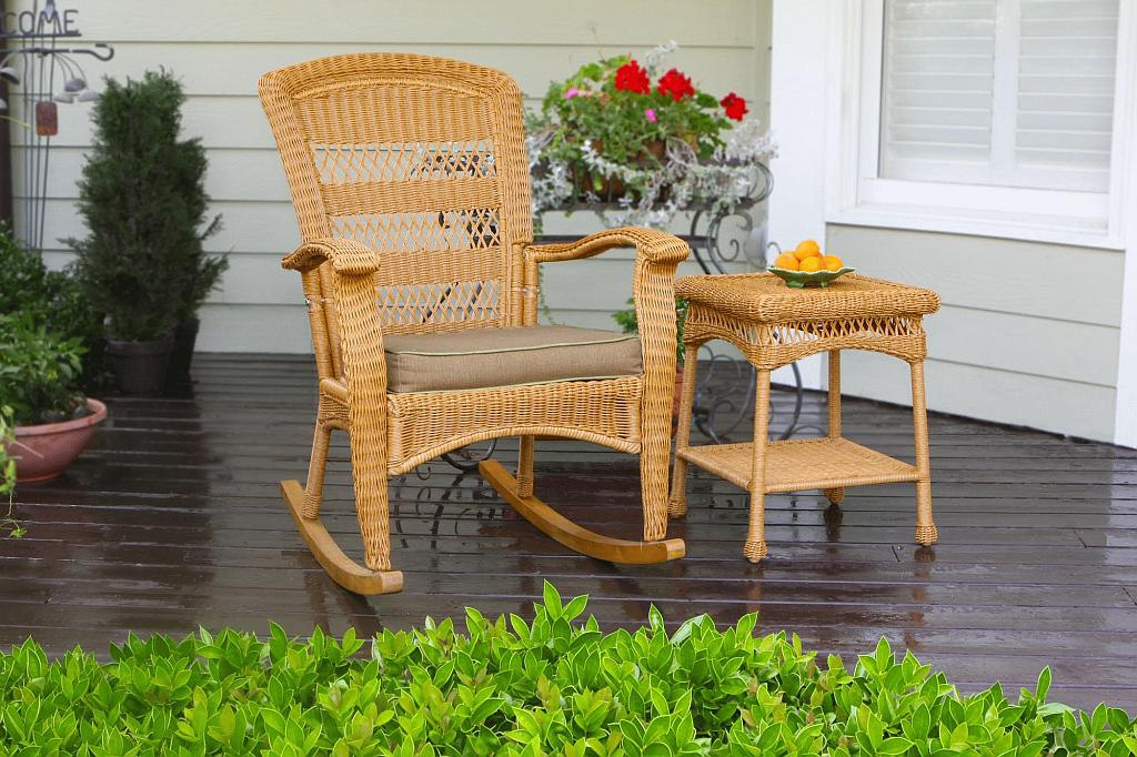 Image of: Patio Rocking Chair Resin Wicker