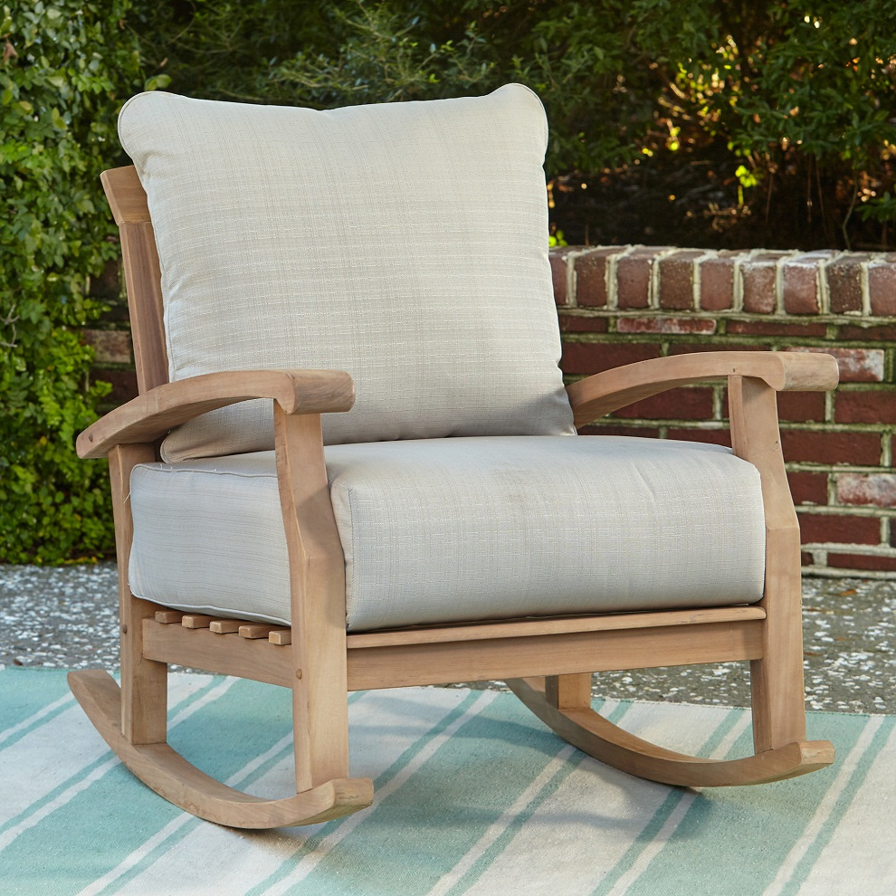 Image of: Patio Rocking Chair Teak Wood