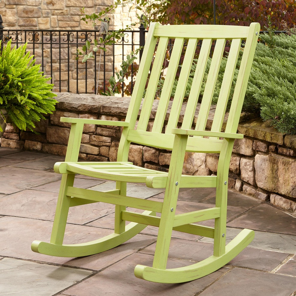 Image of: Patio Rocking Chair Wood Paint