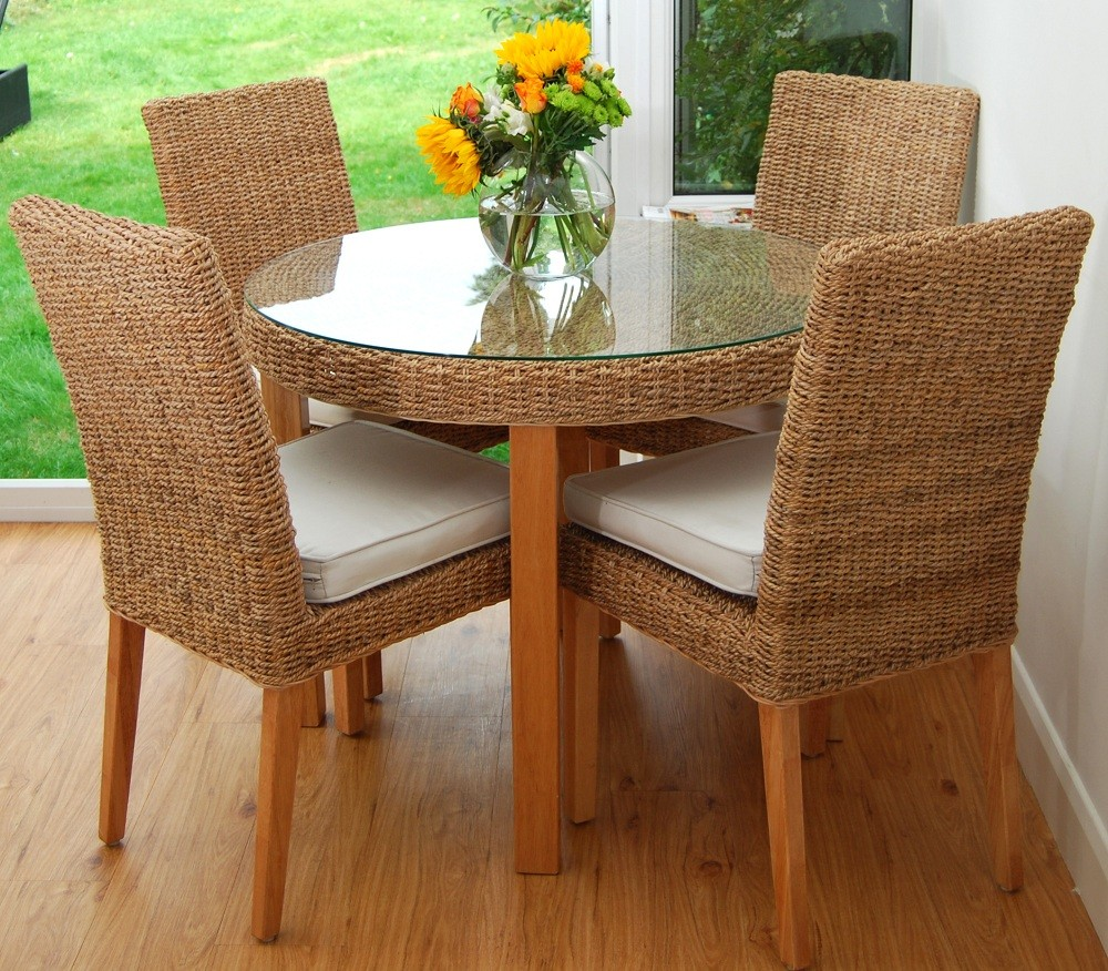 Image of: Small Seagrass Dining Chairs