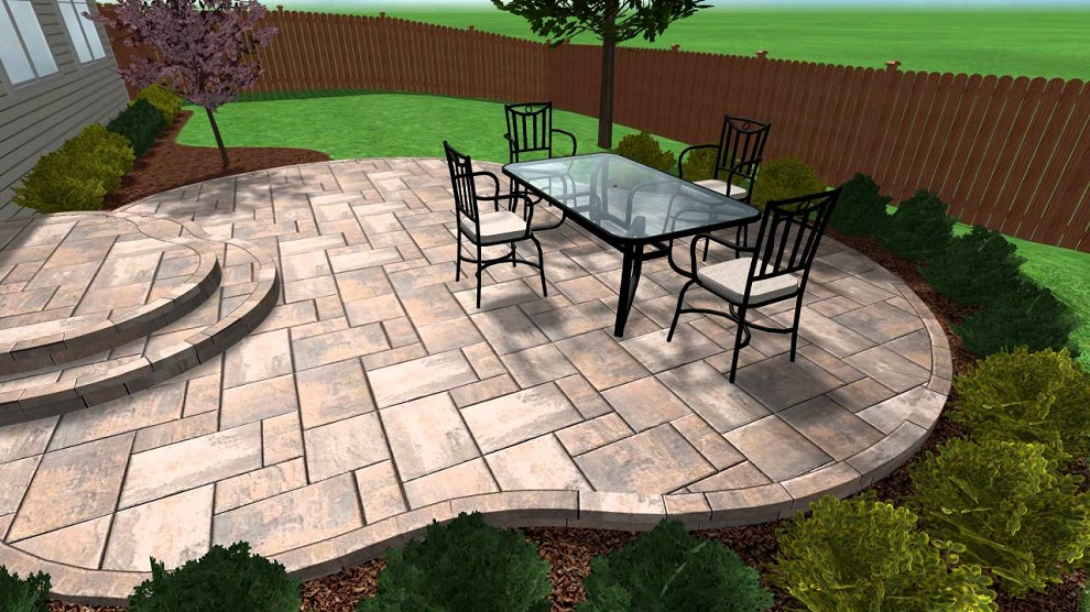 Image of: Stamped Concrete Patio Plans