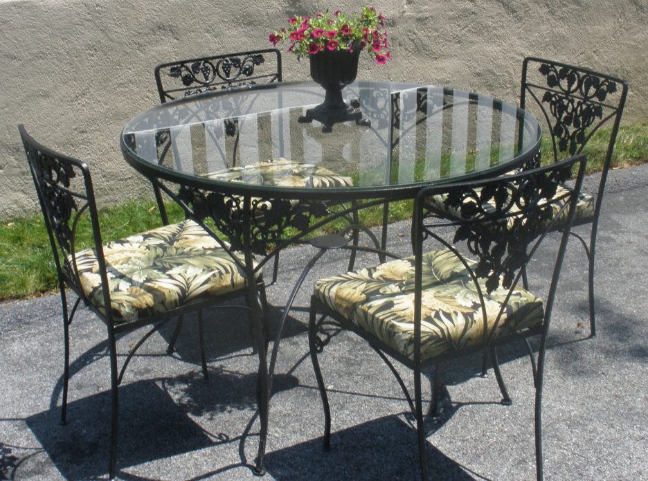 Vintage Wrought Iron Patio Dining Set