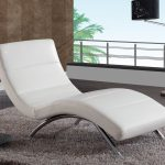 White Leather Chaise Lounge Chair