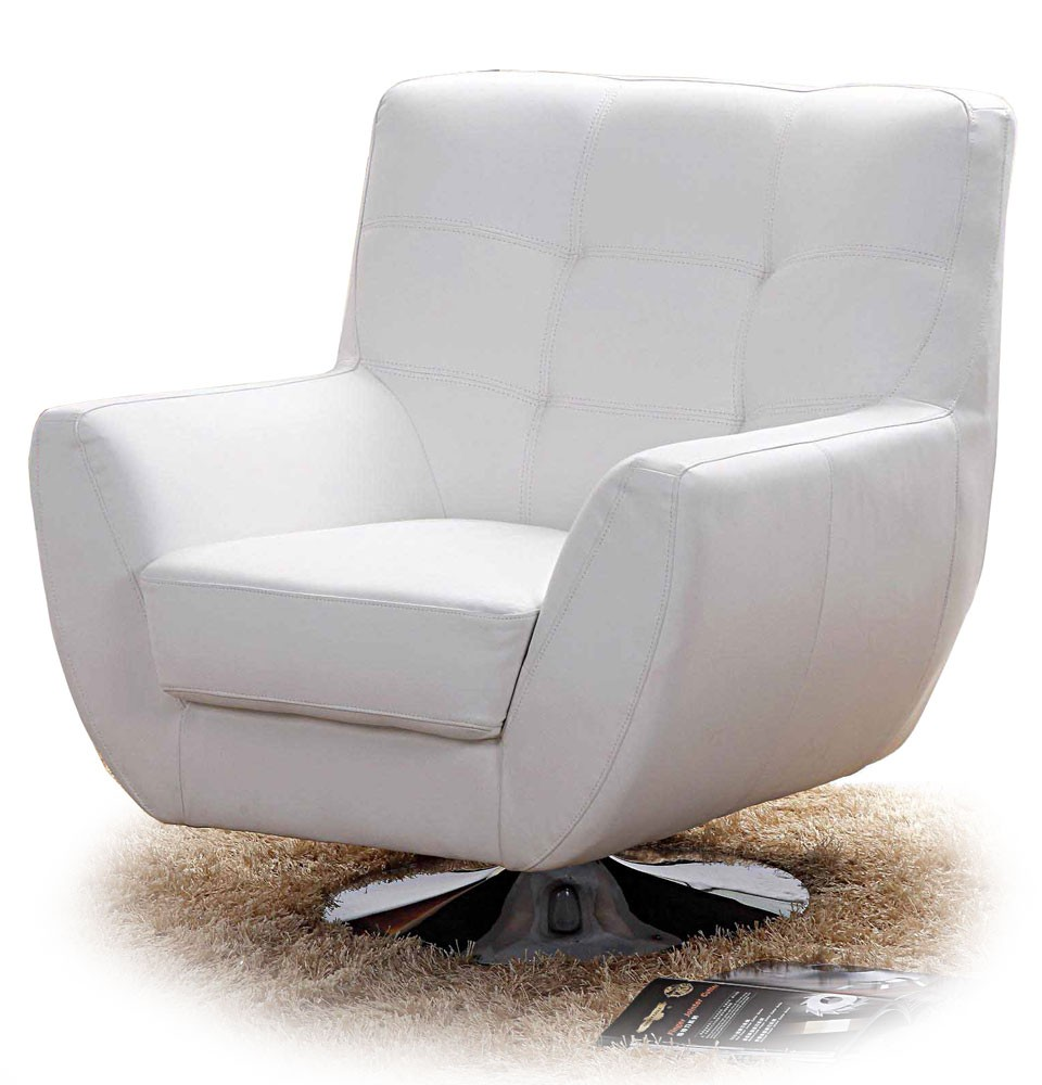 White Swivel Lounge Chair