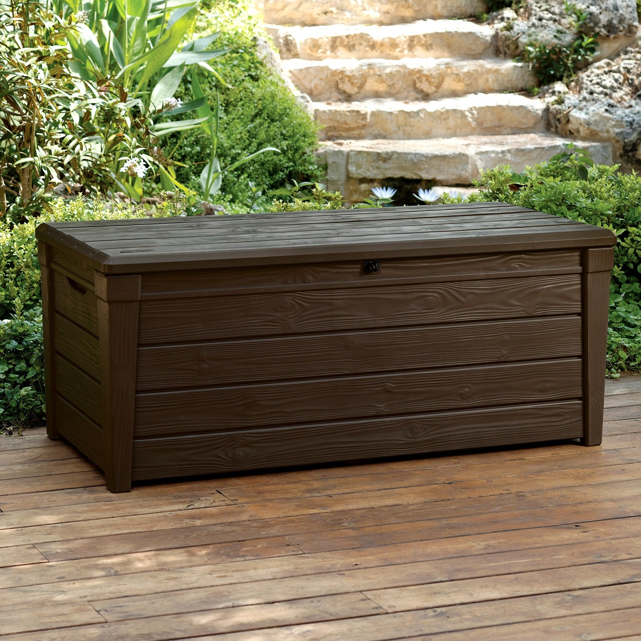 Image of: Wood Patio Cushion Storage