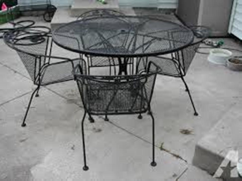 Image of: Wrought Iron Patio Chairs Vinyl End Caps