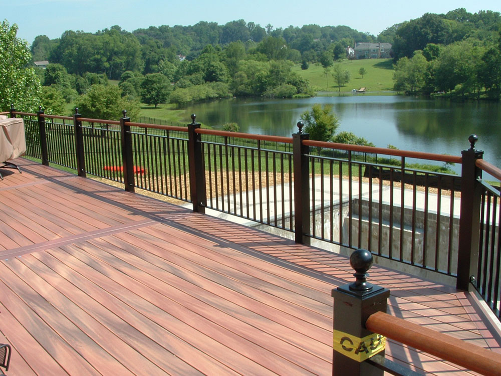 Image of: Aluminum Deck Railing Black