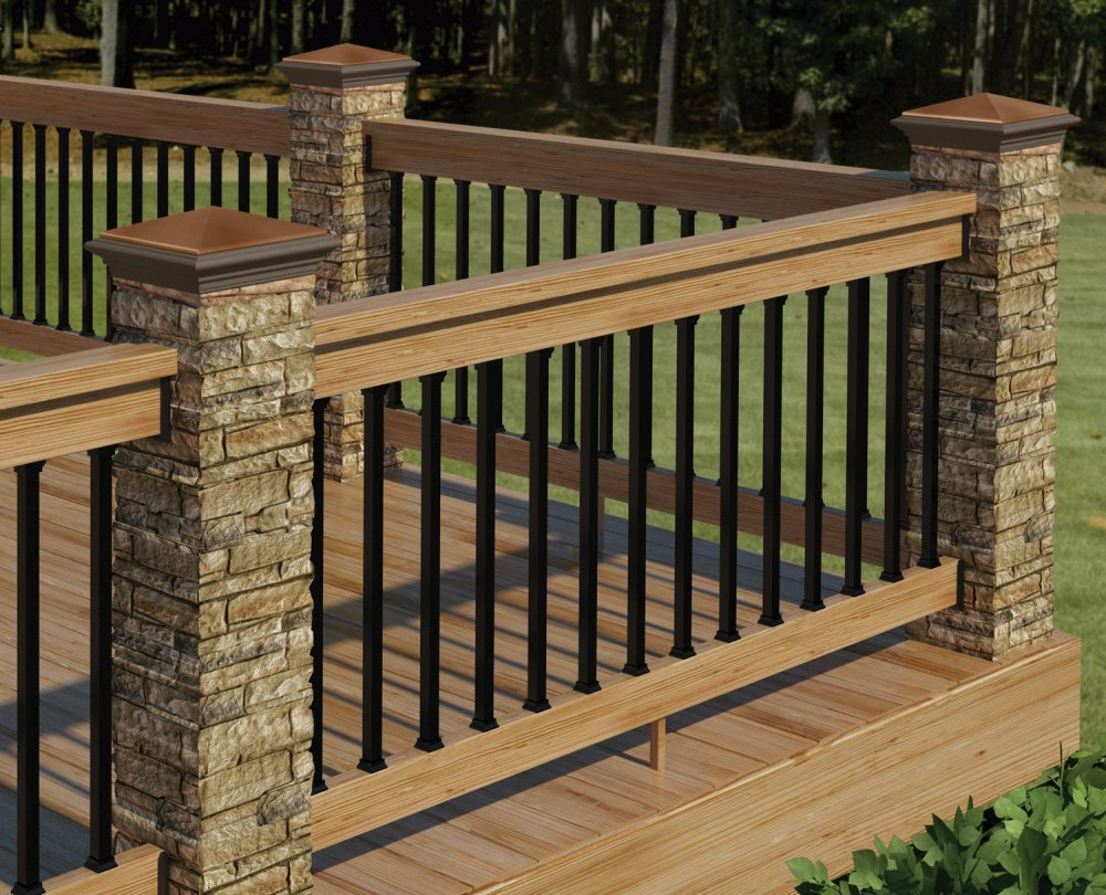 Image of: Aluminum Deck Railing Brown