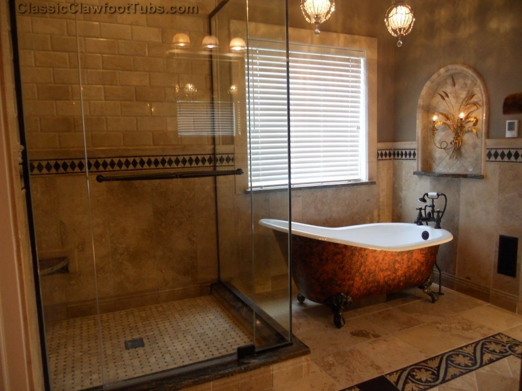 Image of: antique clawfoot tub shower