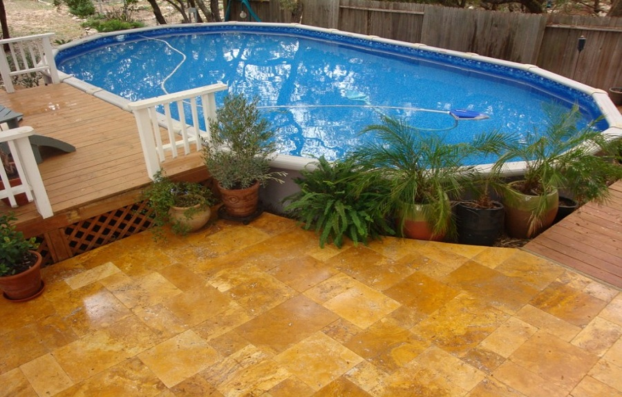 Image of: Applying Oval Pool Decks