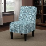 armless accent chairs blue