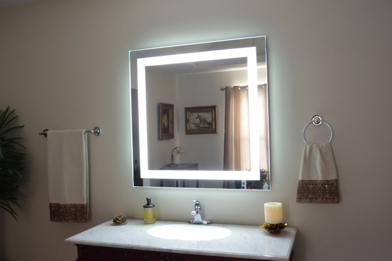Image of: Bathroom Mirror with Lights Install