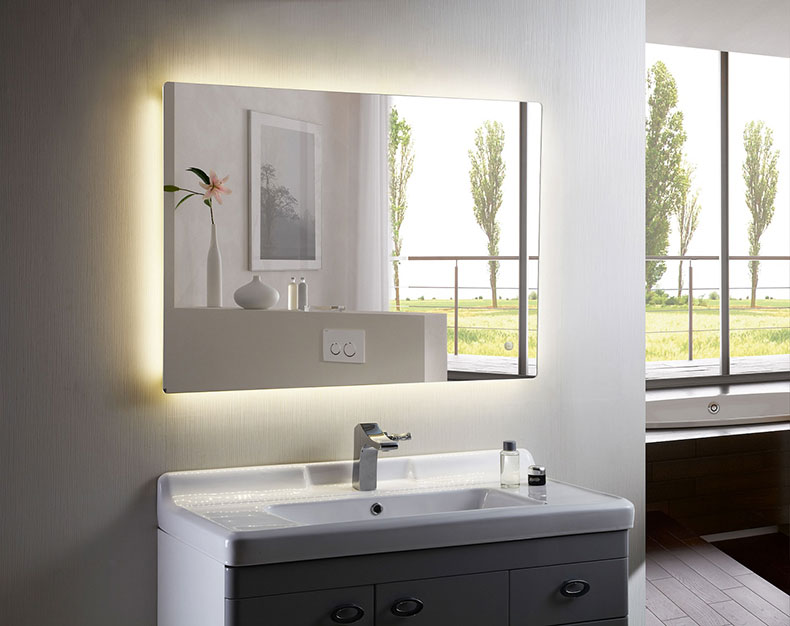 Bathroom Mirror with Lights Square