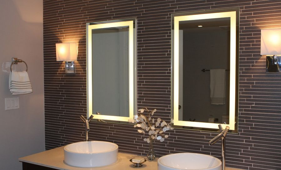 Image of: Bathroom Mirror with Lights Wall