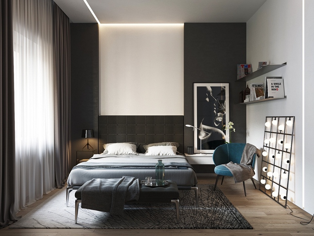 Image of: Black And White Bedroom Ideas With Accent Color