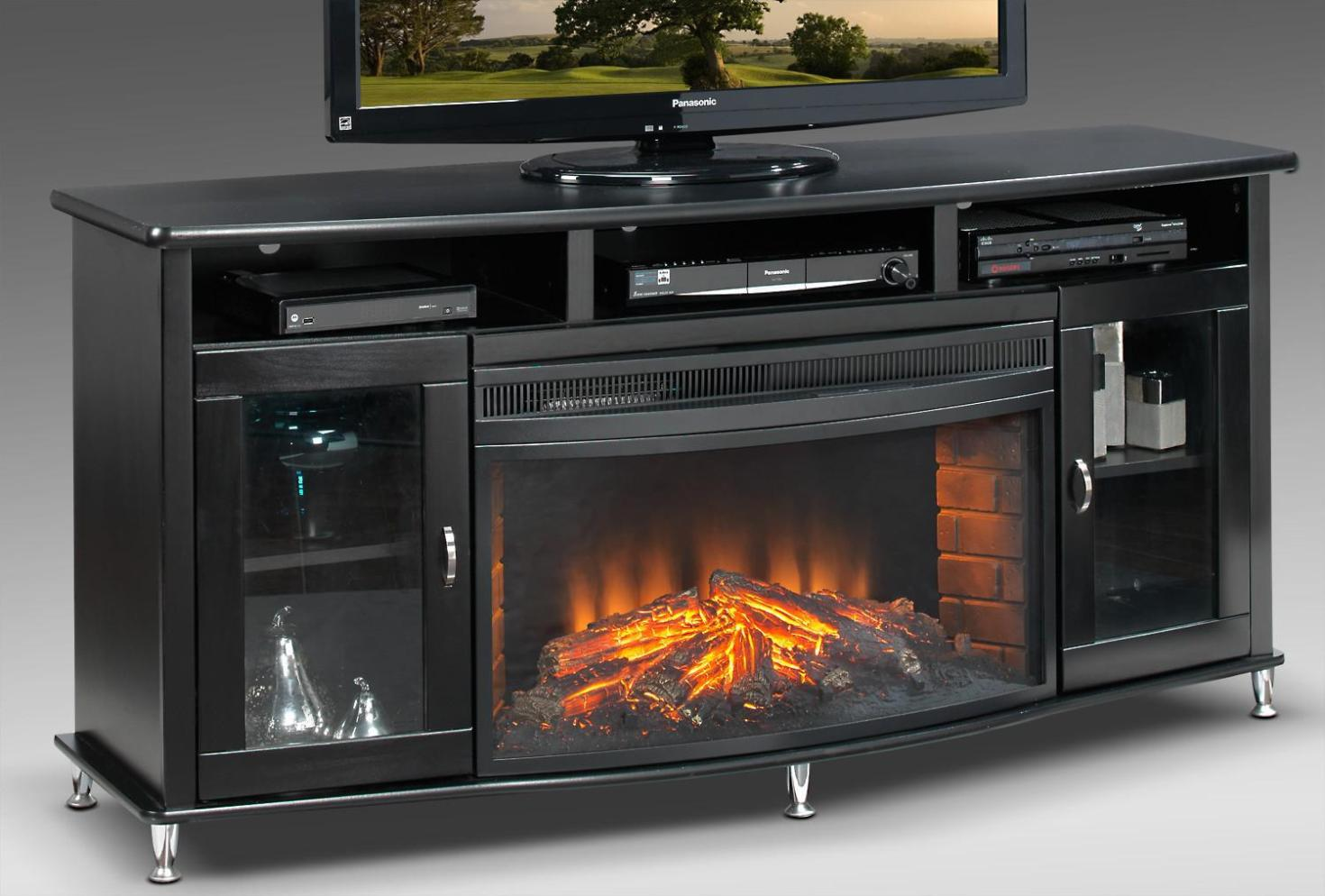 Image of: Black Corner Electric Fireplace Tv Stand