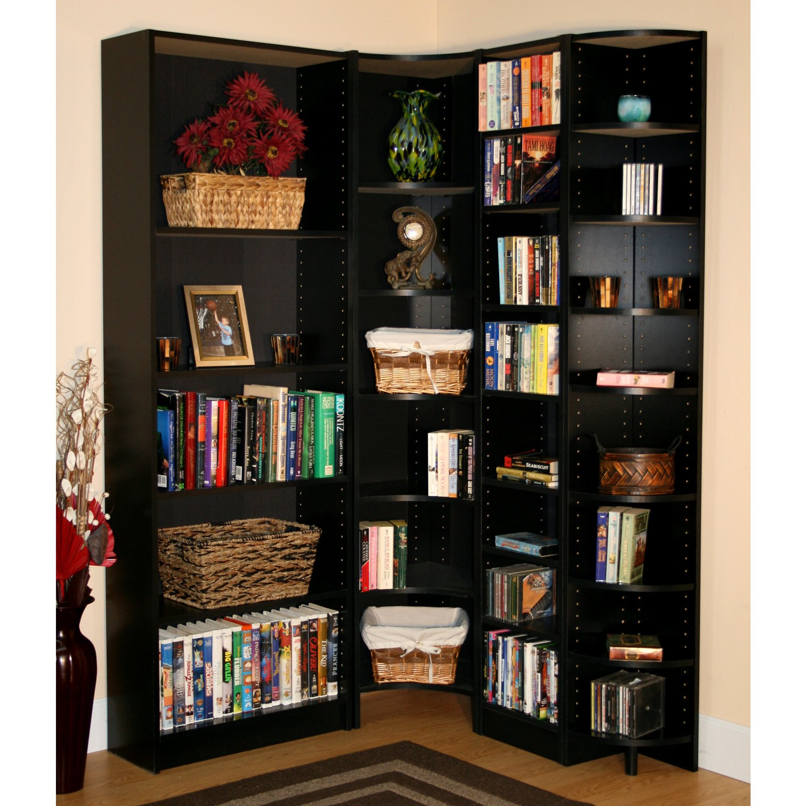 Image of: Black L Shaped Bookcase