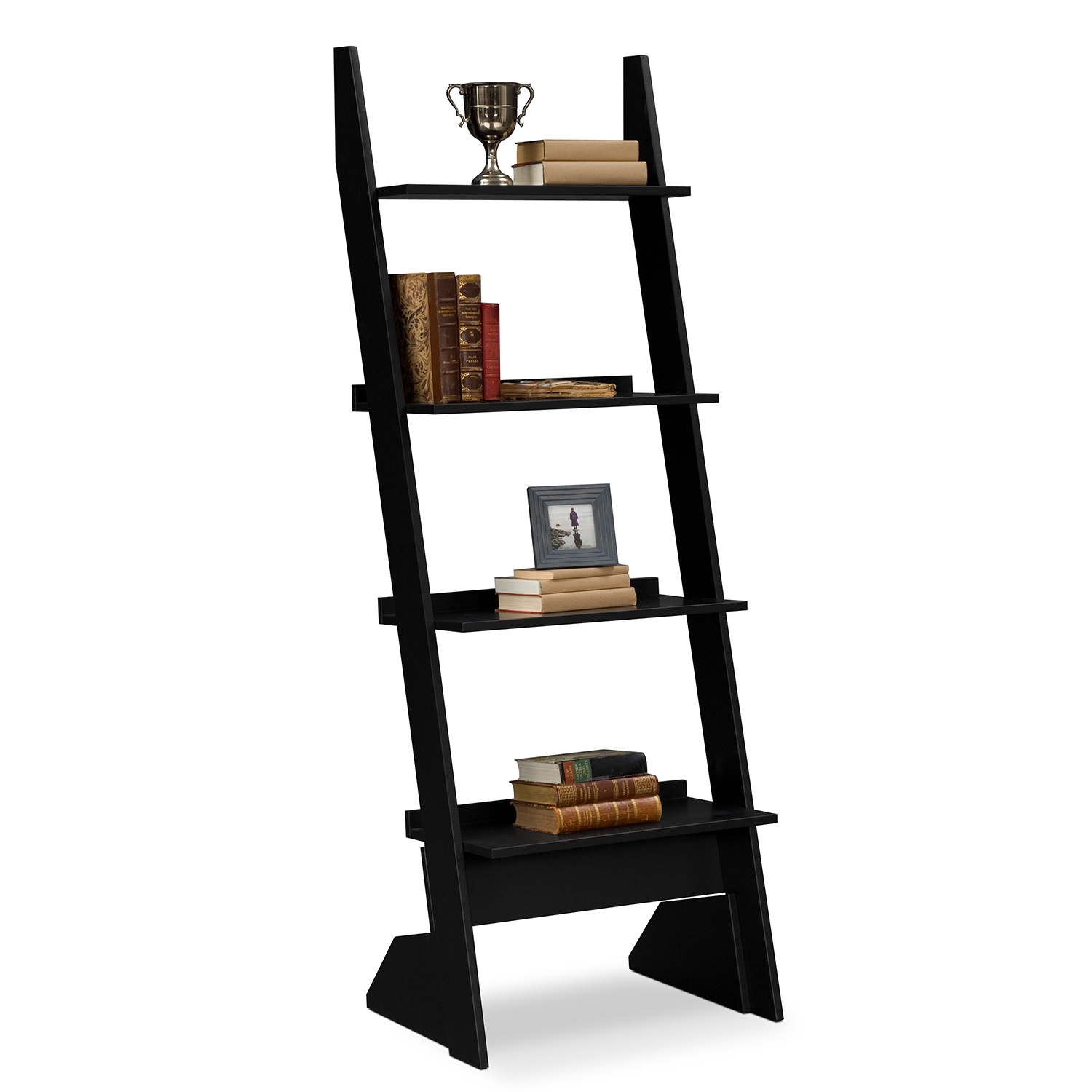 Image of: Black Leaning Bookcase