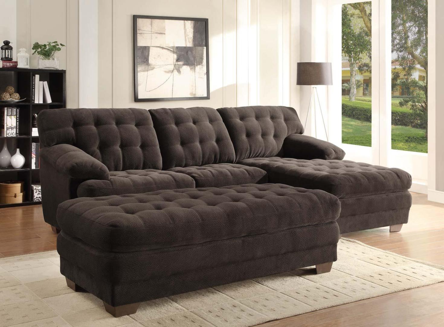 Image of: Black Microfiber Sectional Couch