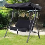 black patio swing chair