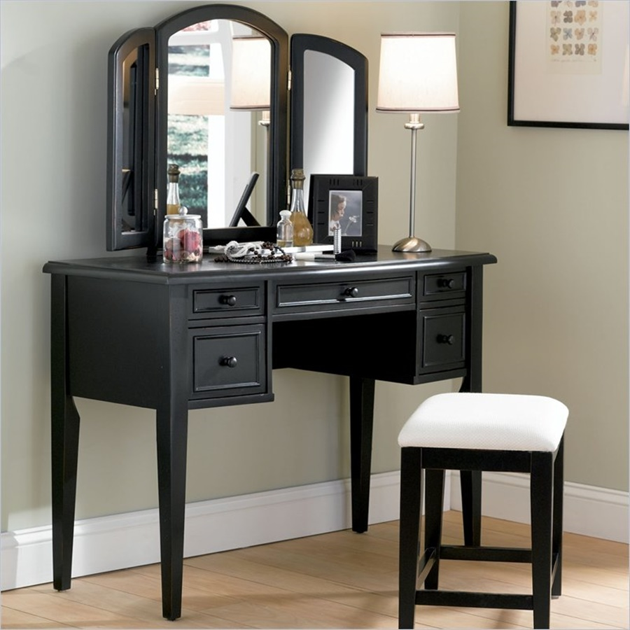 Image of: Black Vanity Desk With Mirror