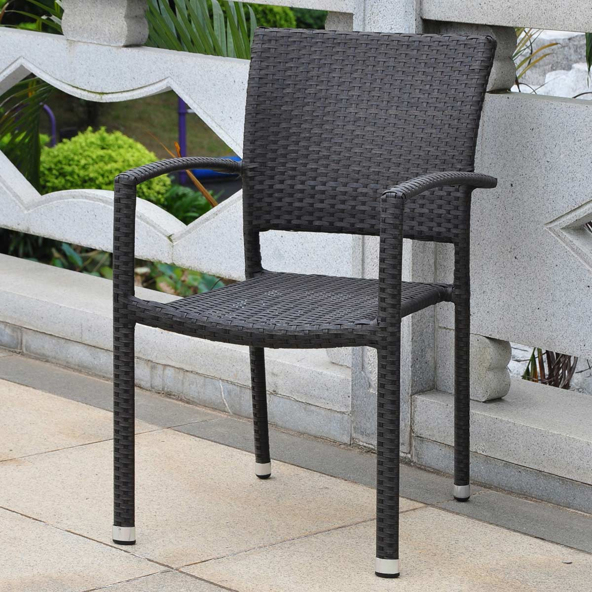 Image of: black wicker dining chairs