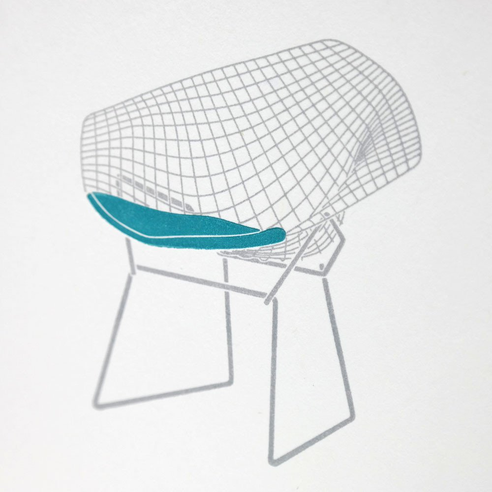 Image of: Blue Bertoia Diamond Chair