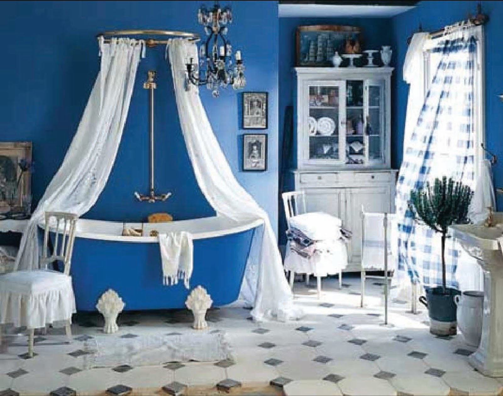 Image of: blue clawfoot tub shower