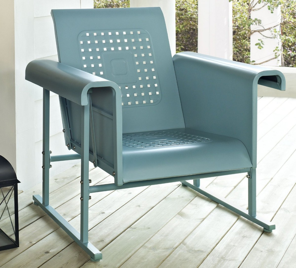 Image of: blue outdoor glider chair