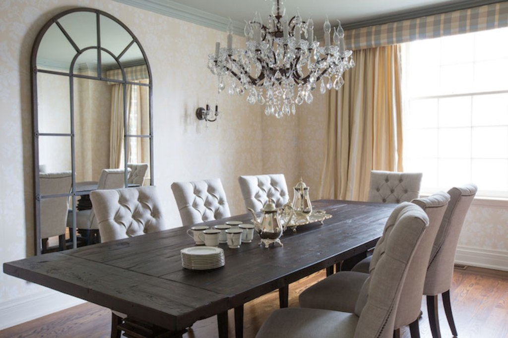 Image of: blue tufted dining chairs