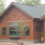 board and batten siding with stone