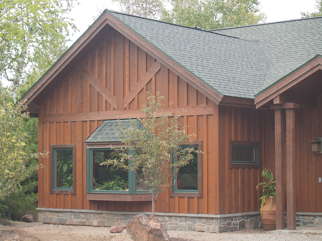 Image of: board and batten siding with stone