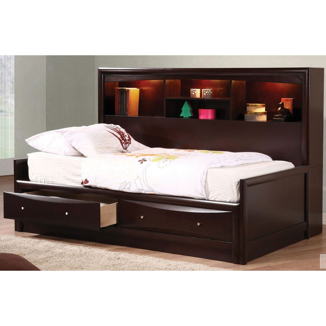 Image of: Bookcase Headboard Queen Brown