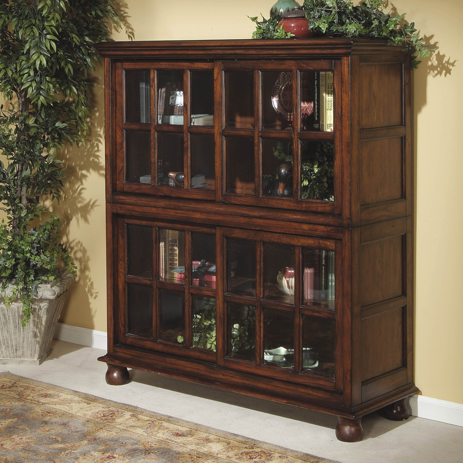 Image of: Bookcase With Glass Doors Design