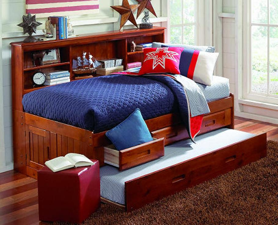 Image of: Bookcase daybed with 3 drawers and trundle
