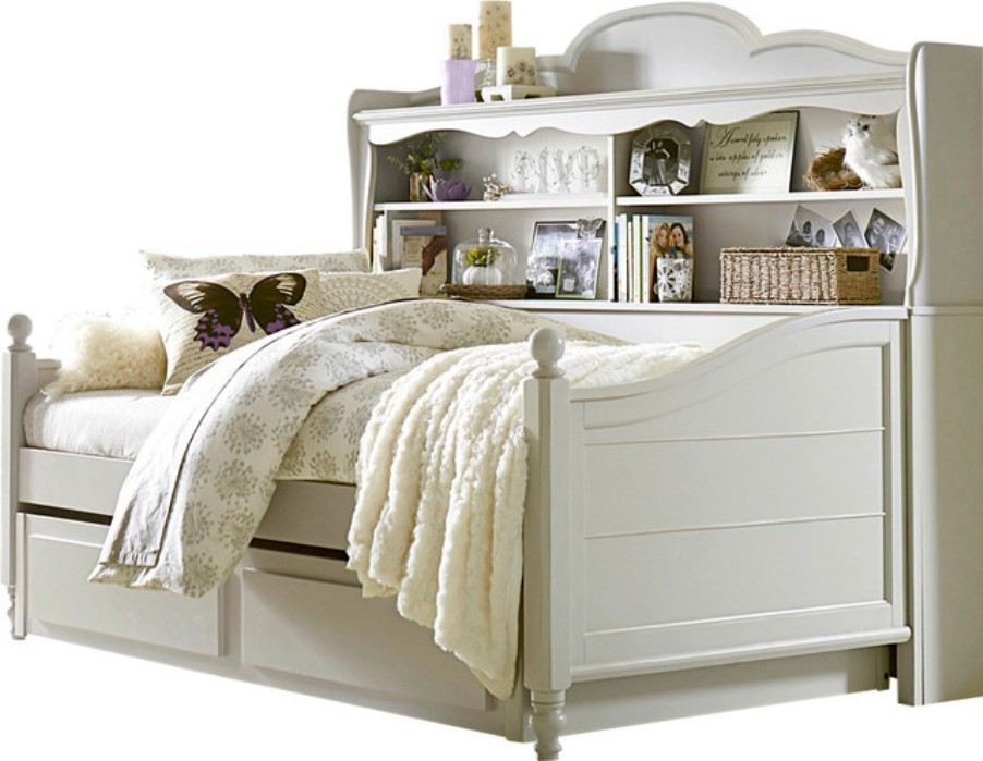 Image of: White Bookcase Daybed with Trundle