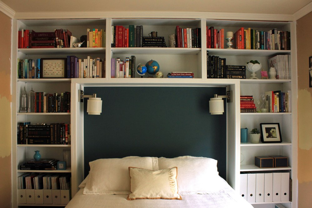 Image of: Bookcase headboard plans