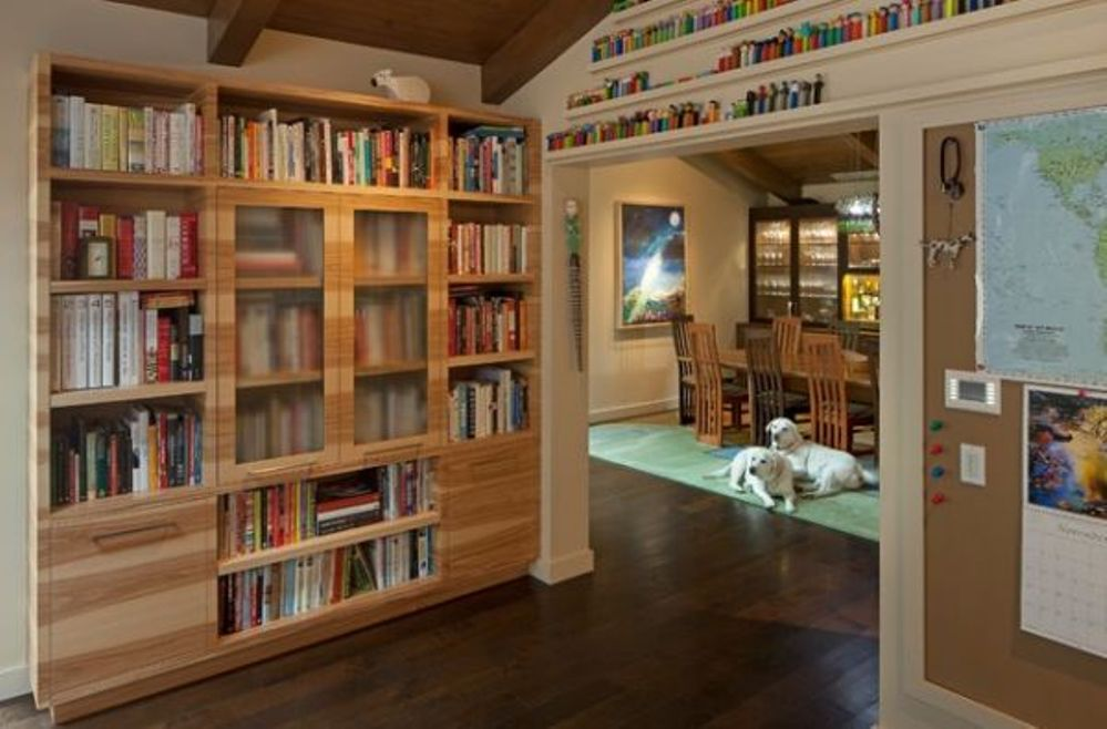 Image of: Bookcase with glass doors black